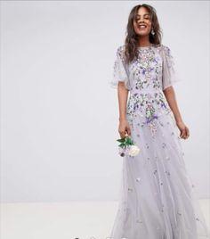 b4b4d90e Shop ASOS DESIGN Tall Bridesmaid floral embroidered dobby mesh flutter  sleeve maxi dress at ASOS.