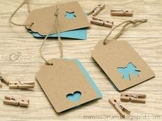 Two tone punch out tags Diy And Crafts, Paper Crafts, Handmade Tags, Christmas Gift Tags, Card Tags, Gift Packaging, Creative Gifts, Diy Cards, Cardmaking