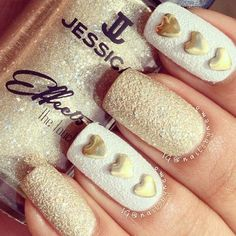 White and Gold Valentines Nails