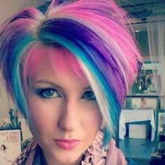 Extreme Hair Colors, New Hair Colors, Cool Hair Color, Cotton Candy Hair, Creative Hair Color, Teal Hair, Ombre Hair, Corte Y Color, Funky Hairstyles