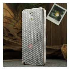 Aluminium Metal Bumper and Carbon fiber Protective back Case For Samsung Galaxy Note 3 N9000 - Champagne/Silver US$25.99