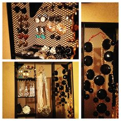 DIY jewelry stand made from a desk organizer and paper clips! Perfect for stud earrings!
