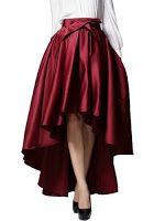 Choies Women's Burgundy/Black Bowknot High Waist Hi-Lo Party Skater Skirt Night Out Skirts, Maxi Skirt Tutorial, Puffy Skirt, Bubble Skirt, Maroon Dress, Skirt Patterns Sewing, High Low Skirt, Rock, Skirt Fashion