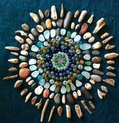 Sea glass and pebbles mosiac