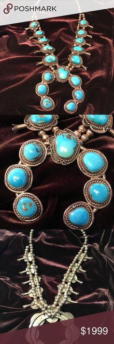 """Navajo Vintage Squash Blossom 21"""" with 3""""x3"""" Naja Gorgeous Native American, Silver and Turquoise, hand crafted necklace! In excellent condition! Navajo Jewelry Necklaces"""