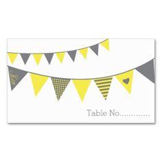 Yellow Grey Pattern Bunting Table Escort