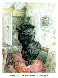 The little dog, Duchess, looking for the mouse pie, in Beatrix Potter's THE PIE AND THE PATTY-PAN.