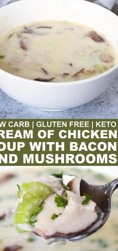 Warm up with some delicious cream of chicken soup with bacon and mushrooms. Its sure to take the chill out on a cool fall or winter day and satisfy hunger. // easy low carb recipes // low carb yum recipes // keto recipes // keto recipes easy // healthy keto recipes // #soup #souprecipes #lowcarb #lowcarbrecipes #keto #ketorecipes #healthysoup #healthymeals ...wder to a simmer. Meanwhile whirr cauliflower cream cheese egg yolks and heavy cream in blender. Add to stock mixture and gently… Low Carb Chicken Soup, Chicken Soup Recipes, Cream Of Chicken Soup, Seafood Recipes, Cream Soup Recipes, Creamy Chicken, Keto Foods, Ketogenic Recipes, Easy Healthy Recipes