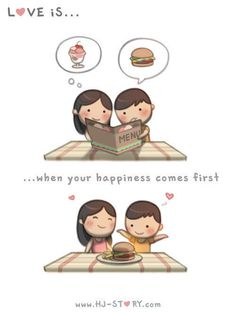 Love Is. Illustrations from HJ-Story Hj Story, Cute Love Stories, Love Story, Cute Love Cartoons, Romantic Movies, Love Wallpaper, Funny Love, Illustrations, First They Came