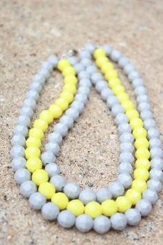 Three Strand Gray and Yellow Statement by PureHeartCreations, $20.50