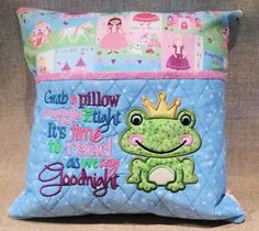 Reading Pillow Princess & Frog Prince Embroidered