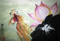 """""""Goldleaf"""" ink and colored pigments on rice paper shows a goldfish in a lotus pond. Goldfish represent prosperity and the lotus is a symbol of perfection and purity. By Trace Griffith Tso"""