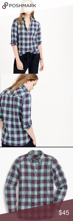 J.Crew Shrunken Boyfriend Shirt Size 4. 99% cotton, 1% elastic. Perfect for layering, lightweight flannel. No signs of wear! Retail $89.50 J. Crew Tops Button Down Shirts