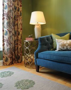 Green living room - traditional - living room - dc metro - bossy color | Annie Elliott interior design