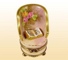 Brown Floral Armchair with Book Limoges Box