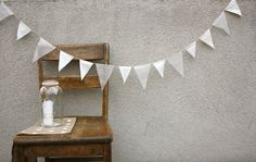 Ivory Winter Cotton and Lace Pennant Banner Bunting by cocosailore