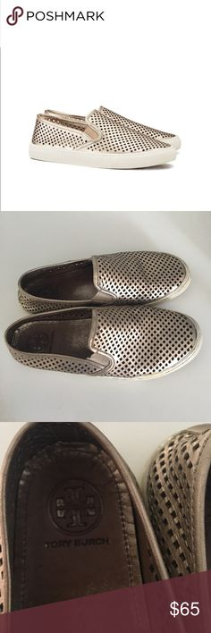 Tory Burch Jesse Metallic Perforated Sneakers 📦 comes in Tory Burch box 📦 These are the perfect sneakers for Spring! They are super comfortable and would look great with jeans or a dress. They have been well loved which is why they are priced accordingly but still have life to them. Listing for shoes only. Tory Burch Shoes Sneakers