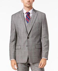 7f26ae87 Lauren Ralph Lauren Men's Classic-Fit UltraFlex Stretch Black/White  Windowpane Suit Jacket - Black/white 40R