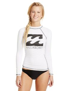 Amazon.com: White Billabong Women's Pacifica Long Sleeve Rash Guard, White, Large: Sports & Outdoors