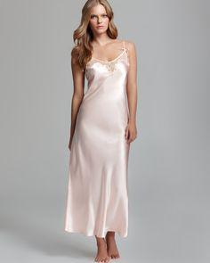 Oscar de la Renta Pink Label Lace Trellis Long Charmeuse Nightgown | Bloomingdale's