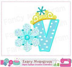 Frozen Monogram VFrozen Pincess DesignLetter V by FancyMonogram