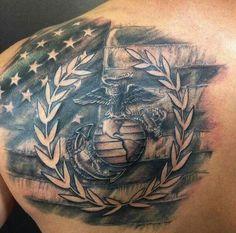 Semper Fi Marine Tattoo, Semper Fi Tattoo, Marine Corps Tattoos, Warrior Tattoos, Badass Tattoos, Dog Tattoos, Life Tattoos, Body Art Tattoos, Sleeve Tattoos