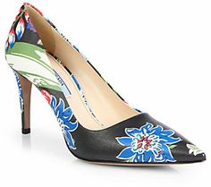 Prada Floral-Print Leather Point-Toe Pumps on shopstyle.com