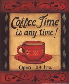 """Coffee Time"" Is Anytime Fine Art Print by Kim Lewis."