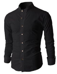 Mens Slim Fit Shirts with China Collar Long Sleeve Stylish Shirts, Stylish Men, Cool Shirts, Men Shirts, Boy Fashion, Mens Fashion, Banded Collar Shirts, Mens Tailor, Sharp Dressed Man