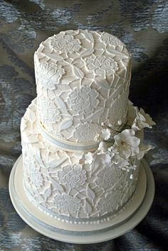 Lace Wedding Cake Two tier (double layer) wedding cake... for lace i used mould from Global sugar art (BIG ROSE MOLD BY RVO) item number is...