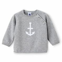Petit Bateau Baby Boy Cotton Knit Anchor Sweater