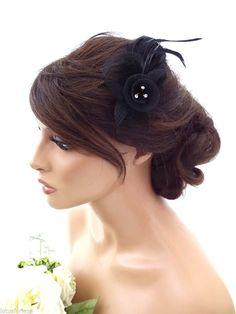 Black Mesh Net Flower Crystal Feather Hair Comb Slide Fascinator Races Wedding