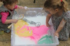 Whisking up soap flakes with powder paint looks like great fun!