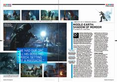game magazine layout Gaming Magazines, Video Game Magazines, Magazine Layout Design, Magazine Layouts, Layout Inspiration, Graphic Design Inspiration, Catalogue Layout, Shadow Of Mordor, Magazine Spreads