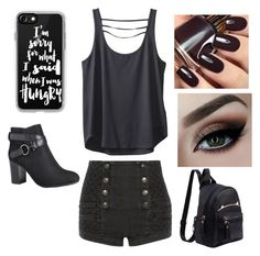 """""""Black"""" by cunnina on Polyvore featuring Kavu, Casetify, Pierre Balmain and Avenue"""