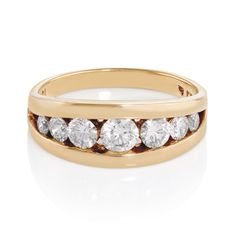 An Gold Domed Channel Set Ring refined with a pure, dazzling display. Ysl, Givenchy, Hermes, Dior, Chanel, Gold Diamond Rings, White Gold, Wedding Rings, Engagement Rings