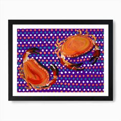 Crabs On Purple Spotty Art Print by Alice Straker - Fy Wooden Frames, Fine Art Prints, Alice, Things To Come, Vibrant, Crabs, Wall Art, Cool Stuff, Printers