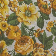 """Gabrielle Cie Golden Floral"" A British woven Union Linen scotchgard p – Fabric Cult"