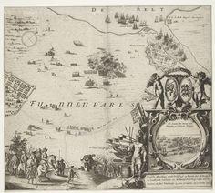 Hugo Allard | Nederlaag der Zweden op Funen, 26 november 1659, Hugo Allard, 1659 | Inname van de stad Nyborg door Michiel de Ruyter en het verslaan van het Zweedse leger door de Denen, 25-26 november 1659. Kaart van het deel van het eiland Funen met een plattegrond van de stad met haven. Rechtsonder een grote cartouche met de landing van de Denen en de Hollanders op het eiland Funen. De cartouche versierd met trofee van wapens en vaandels, bovenop twee putti met de wapens van de Republiek en…
