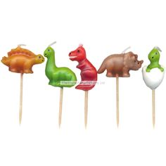 Dinosaur Pick Candles 3.25 5pk