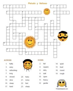 FREE printable Spanish adjectives crossword puzzle and answer key from PrintableSpanish.com