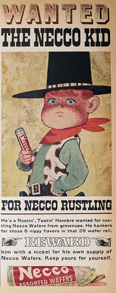 1960 Vintage Necco Candy Ad ~ Wanted: The Necco Kid, Vintage Candy & Gum Ads