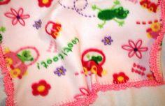 Toot Toot 20x20 Crochet Edge Fleece Baby Doll by MonaSewingTreasures.