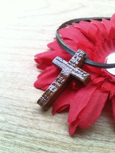 Wood Cross Pendant with leather necklace and by AtkinsFamilyCrafts, $15.00