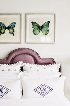 Purple Headboard Lovely girl's room boasts side by side butterfly prints in gray frames over a purple velvet headboard with silver nailhead trim on bed dressed in white and purple bedding and Zhush Standard Sham and Monogrammed Pillows. Teenage Girl Bedroom Designs, Teenage Girl Bedrooms, Big Girl Rooms, Girls Bedroom, Bedroom Decor, Bedroom Ideas, Kids Rooms, Master Bedrooms, White Bedroom