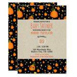 Halloween Smiley Pumpkins Whimsical Baby Shower Card #halloween #happyhalloween #halloweenparty #halloweenmakeup #halloweencostume