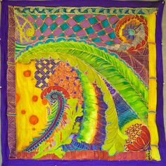 Zentangle Silk Scarf - so Bright & Colorful by CZT, Angie Vangalis