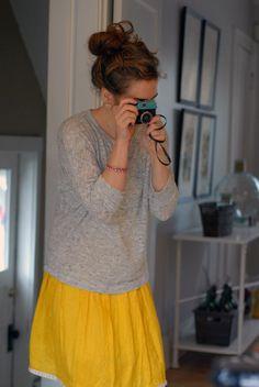yellow skirt and heather gray sweater