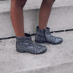 Hello Fall! Kid's silver glittered booties