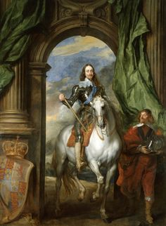 Charles I with M. de St Antoine, 1663, Anthony van Dyck; on the left, the king's crown and coat of arms. (The Royal Collection)